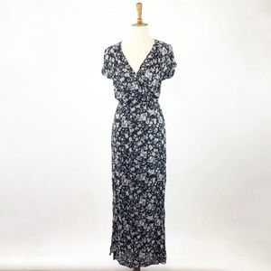 Lucky Brand Black Floral Maxi Dress Wrap Top Small